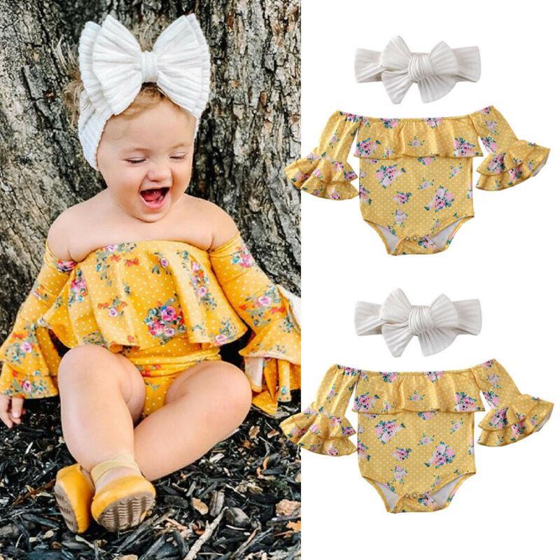 0-24 м новорожденный девочка цветочные боди одежда рябить с плеча печати боди для новорожденных оголовье новорожденных девочек наряд
