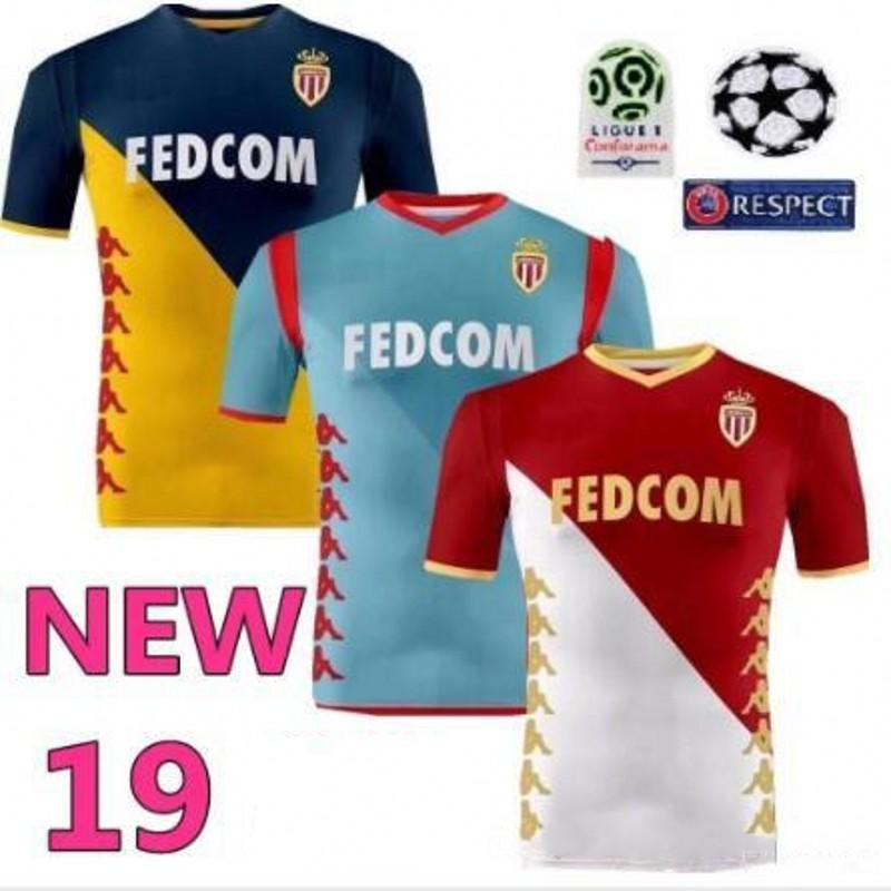 2019 Monaco home red white Soccer Jerseys 19 20 Monaco away blue yellow #9 FALCAO third grey blue shirt #10 JOVETIC Football uniforms sales