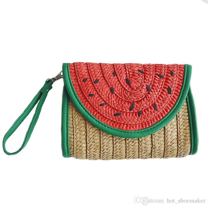 Women Straw Clutch Bag Watermelon Corn Female Messenger Bag Summer Rattan Handmade Envelope Hasp Knitted Braided Tote SS3020 #338847
