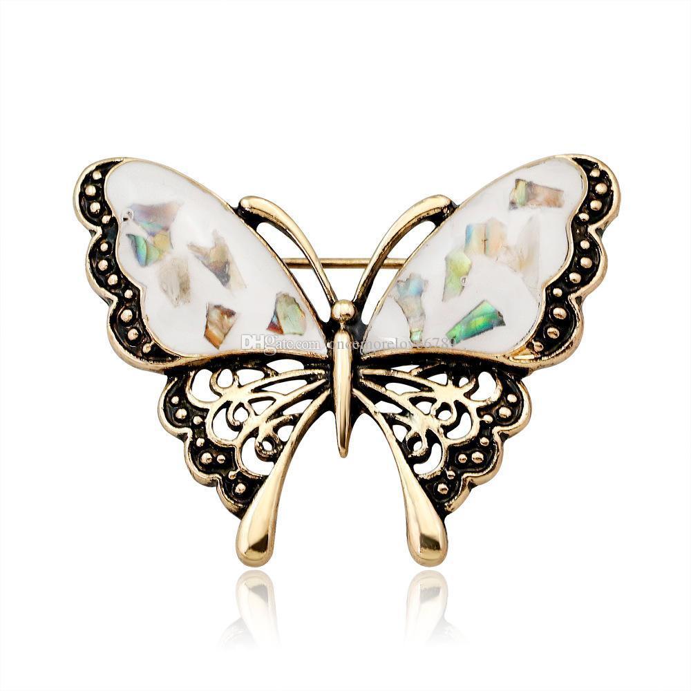 النساء الزفاف كريستال شل الفراشة دبابيس مجوهرات للنساء هدايا أنثى مجوهرات