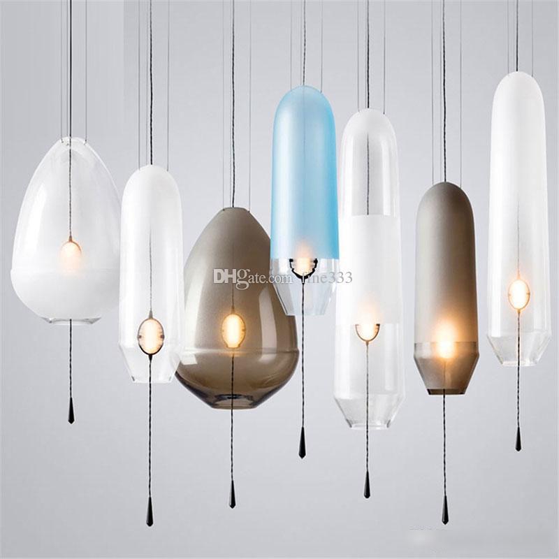 الأمريكية الزجاج الكرة قلادة أضواء الحديد هوب قلادة مصابيح شنق مصباح غرفة نوم مقهى مطعم بار داخلي إضاءة تركيبات ديكور