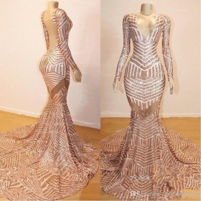 2020 Rose Gold Long Sleeve Prom Dresses Sexy Open Back Evening Gown V Neck Party Dresses BC0841