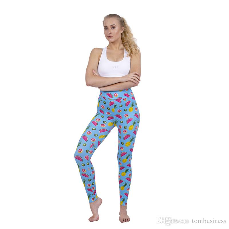 9a07a47fba8 2019 Girl High Waist Leggings Tropical Fruit Blue 3D Graphic Print Soft  Yoga Pants Woman Full Length Trousers Woman Workout Gym Jeggings Y52338  From ...