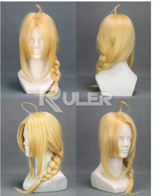 Edward Elric Fullmetal Alchemist Anime Cosplay Costume Wig Free ship Wig Cap