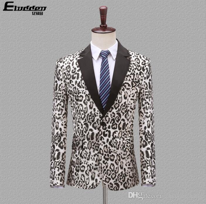 Корейский Blazer шаблон мужчин жених костюм Леопард мужские свадебные костюмы костюм певица звезда стиль танца этапе одежды вечернее платье