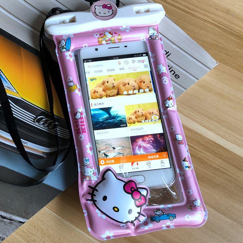 Flotante inflable de la pantalla táctil teléfono móvil impermeable natación del bolso de buceo de gran capacidad de modelado de la historieta linda al aire libre waterp