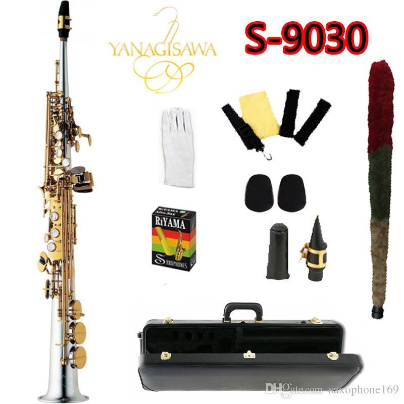 Top YANAGISAWA S-9030 B Tono de Saxofón Soprano niquelado Gold Key Sax Boquilla profesional con el caso y accesorios