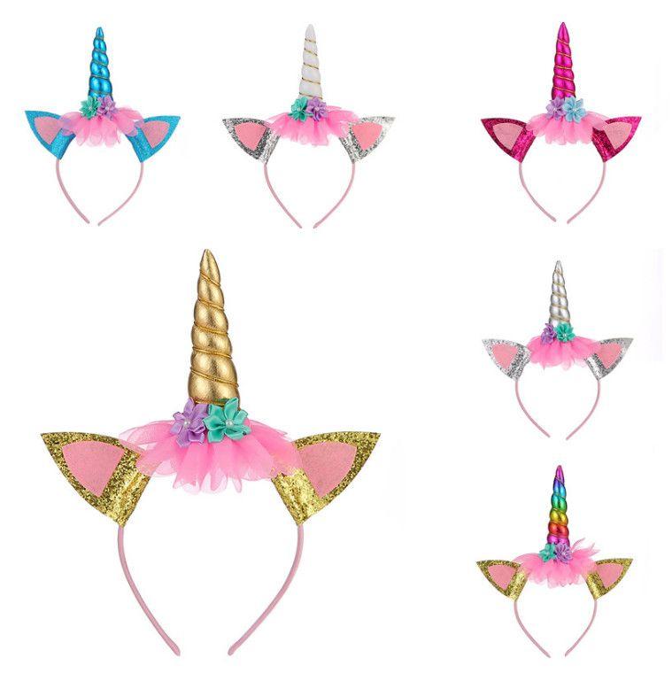 Orejas de gato niñas princesa unicornio flor del aro del pelo precioso malla diadema Niños bebés Hairbands niños la fiesta de cumpleaños Accesorios para el cabello