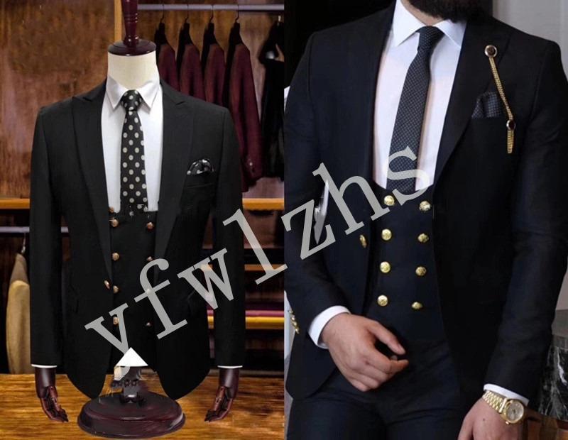 Handsome Golden buttons Groomsmen Groom Tuxedos Mens Wedding Dress Man Jacket Blazer Prom Dinner suits (Jacket+Pants+Tie+Vest) W174