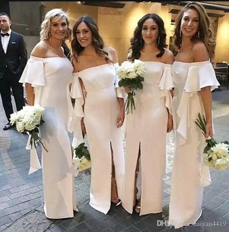 2020 새로운 도착 라인 국가 들러리 드레스 웨딩 게스트 드레스 오프 어깨 전면 분할 프릴 바닥 길이 하녀 명예 가운