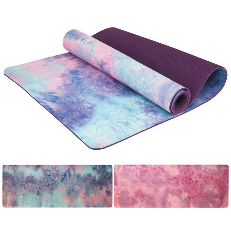 5 mm Gym Sport Yoga Mat Suede Tie-dye antidérapante Fitness Pilates perdre du poids Slim yoga aérobie Pad Camping exercice Massage MatEvw5 #