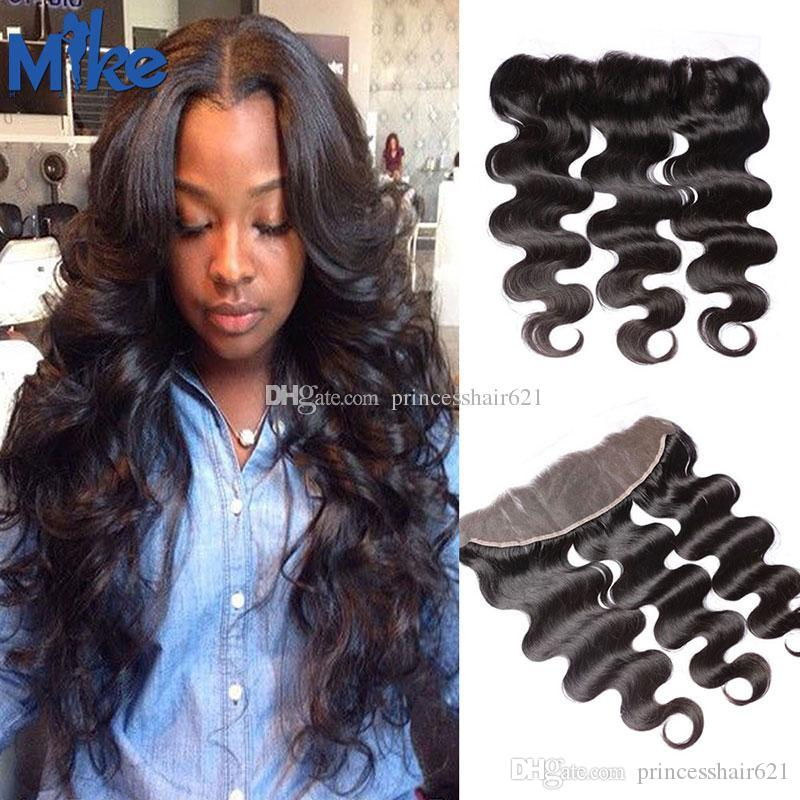 MikeHAIR Brazilian Hair Body Wave 13x4 Lace Frontals Hand Tied Ear to Ear Lace Closure Natural Black Peruvian Indian Malaysian Hair Frontal