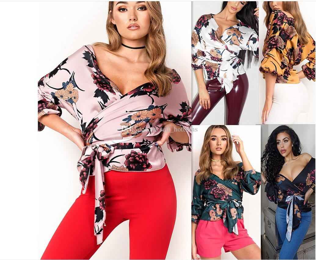 New sexy digital print V-tie shirt and blouse color in spring and summer; white, pink, yellow, green, black