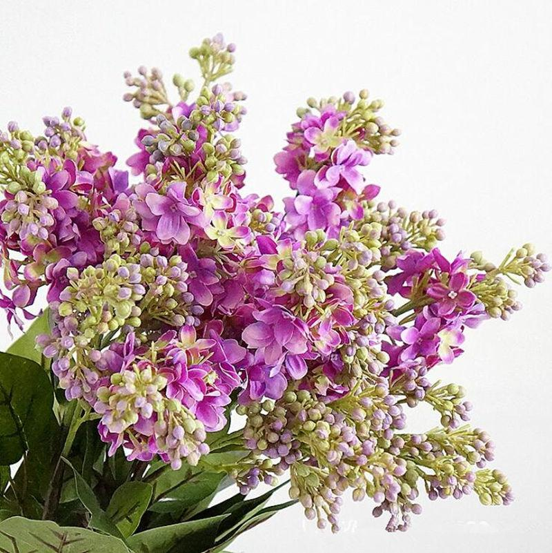 Artificial Lilac flowers beautiful silk flores artificiales for home Wedding DIY decoration Fake hand flower arrangement wreath