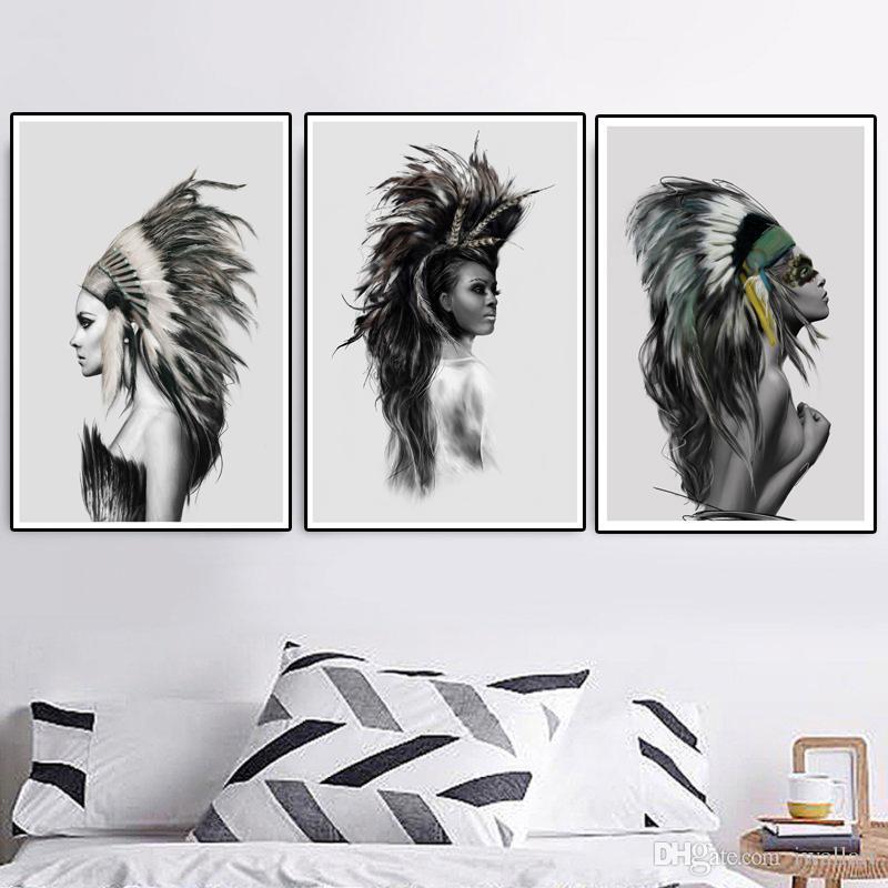 Sexy Indian Girl monocromático pluma cartel minimalista nativo impresión de la pintura nórdica pared del arte cuadro de la lona para la sala de estar Decoración