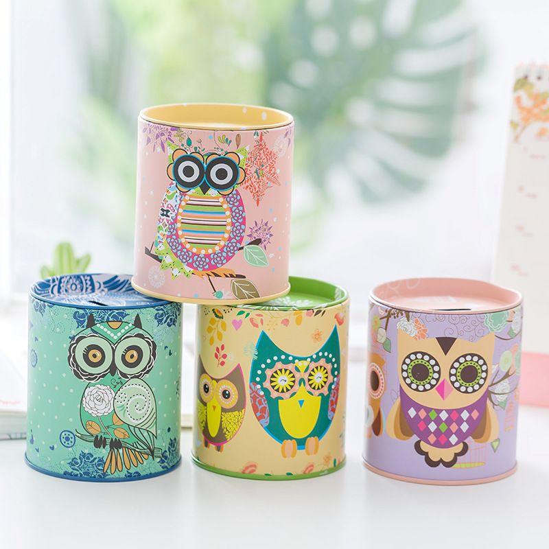 Money Box Урожай Сова Pattern Tinplate Копилка для детей Детских подарков Домашнего украшения Оптового
