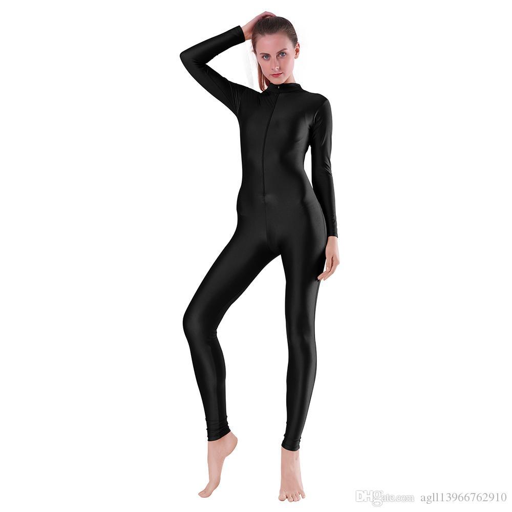 Adulte Danse manches longues Unitard pour femmes Spandex Costume Tenues One Piece col roulé unitards gymnastique hommes Vêtements de Danse