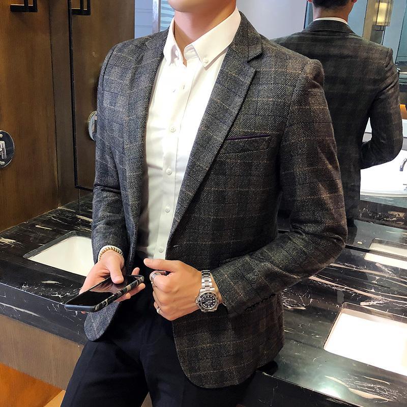 Плед блейзер мужчины британский Стильный мужской блейзер пиджак бизнес повседневная одна кнопка блейзер для мужчин обычная Abrigo Hombre MX191118