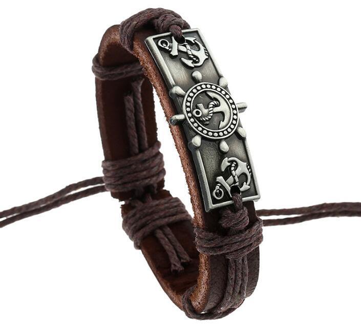 Nueva pulsera de cuero de la manera 100% Se puede ajustar el ancla de la nave encanto encantos hombres pulsera de la aleación partido de la joyería pulsera de cuero joyería fina
