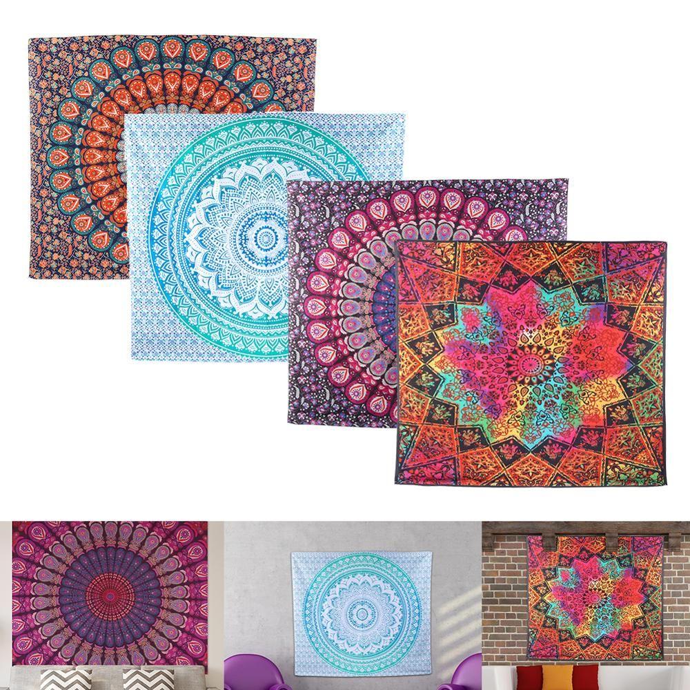 대형 만다라 인도 가구 및 장식용 벽걸이 보헤미안 비치 타월 폴리 에스테르 얇은 담요 요가 어깨 걸이 매트 담요