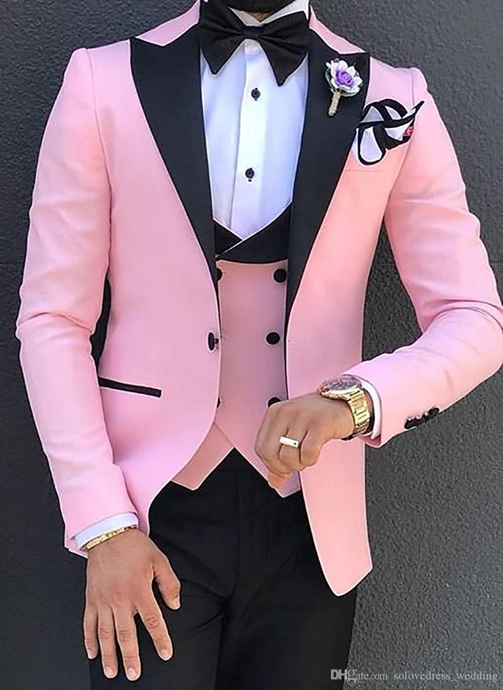 Rosa Hochzeits-Männer Anzug Slim Fit Kerb Lape Blazer formale Abschlussball-Anzug mit schwarzen Hosen 3 Stück nach Maß Groomsmen Suits (Jacket + Vest + Pants)