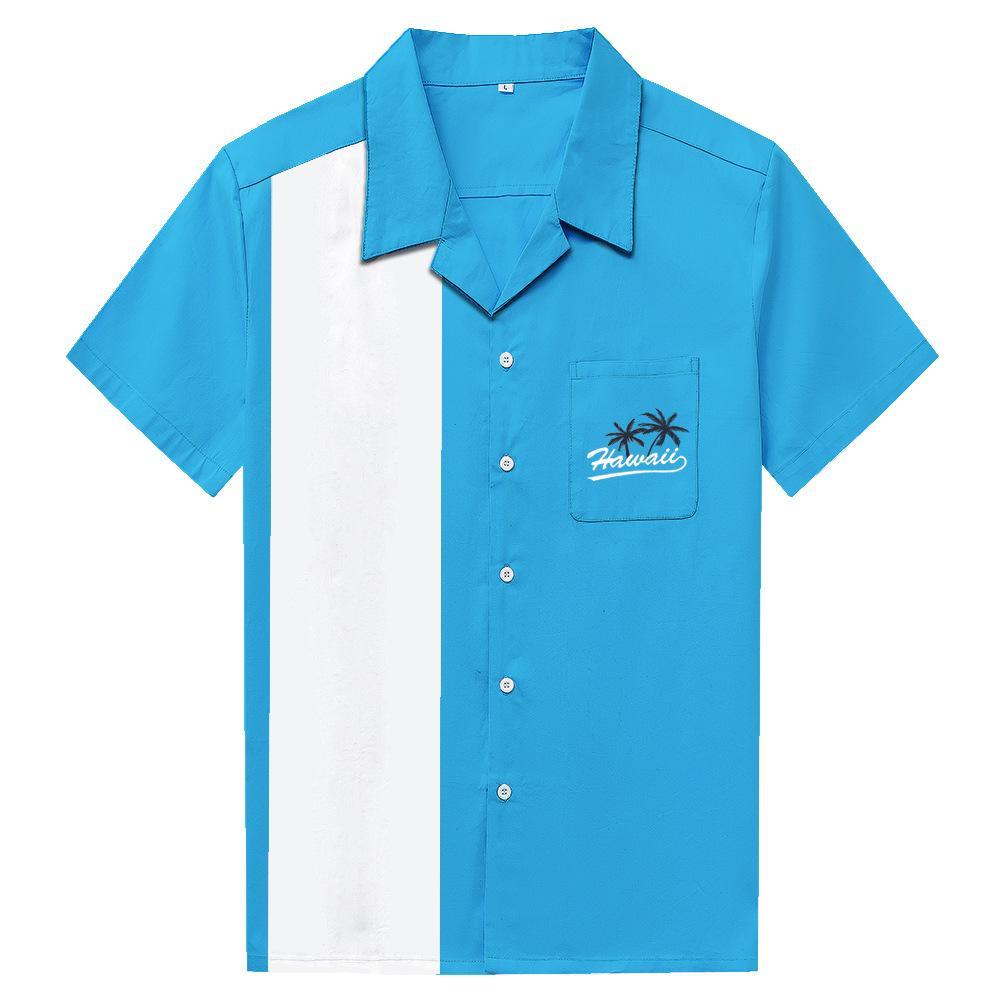 70'ların Hawaii Çizgili Gömlek Erkekler Rahat Düğme Aşağı Elbise Pamuk Gömlek Kısa Kollu Camiseta Retro Hombre Bowling erkek Gömlek