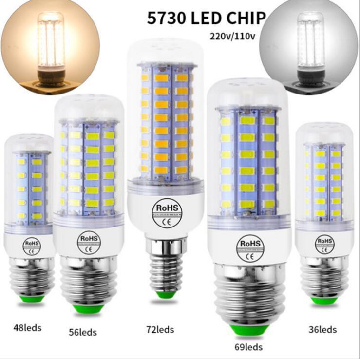 Lâmpada LED 10PC / Bulb lote luz LED 220V LED 48/56 / 69LEDs milho Luz SMD 5730 Lampada No Flicker luz para a decoração Home.