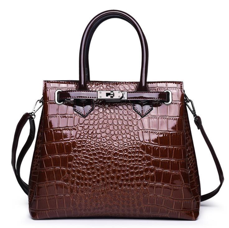 Womens Designer Handbags 2020 Fashion Shoulder Bags Tote Bag High Quality Crocodile Pattern Bag Leather Big Space Briefcase Brown Red Black