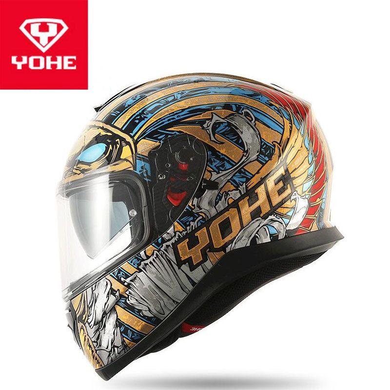2019 Nova Yohe lente dupla motocicleta capacete integral Moto Capacetes Made of ABS PC viseira lente Double Black faraó azul ouro