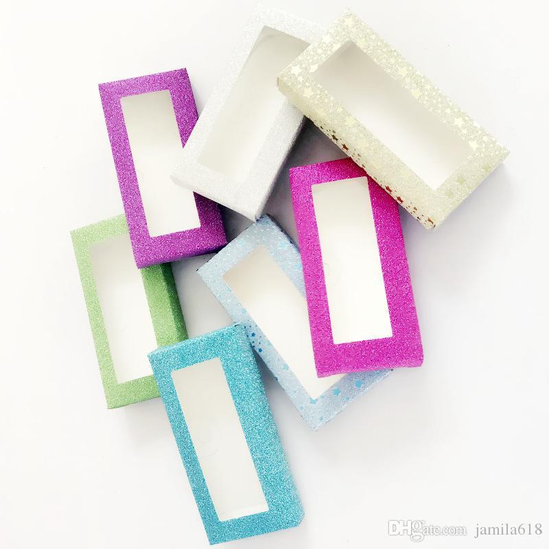 Wholesale Cosmetics Eyelash Empty Box Blank False Eyelashes Boxes Multicolor Glitter Paper Lashes Case Cosmetic Packaging