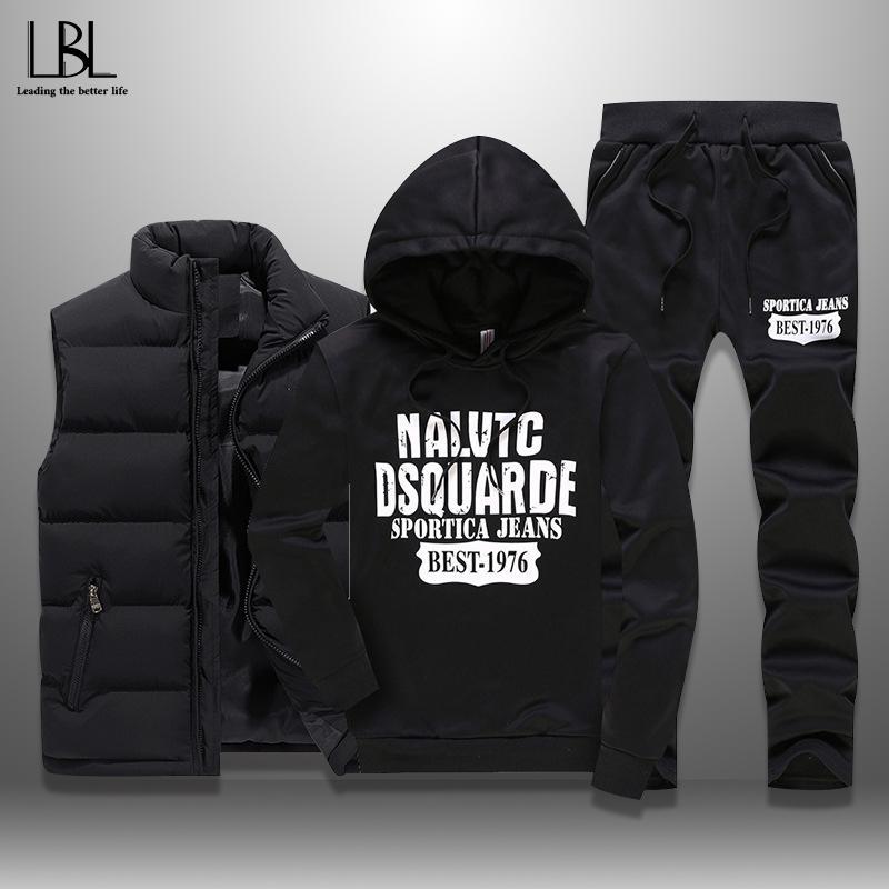 dos homens Fatos Inverno Casual Sportswear capuz Mens Set 3 Pieces Quente Vest Sweatpants Hoodie letra impressa Plus Size 5XL