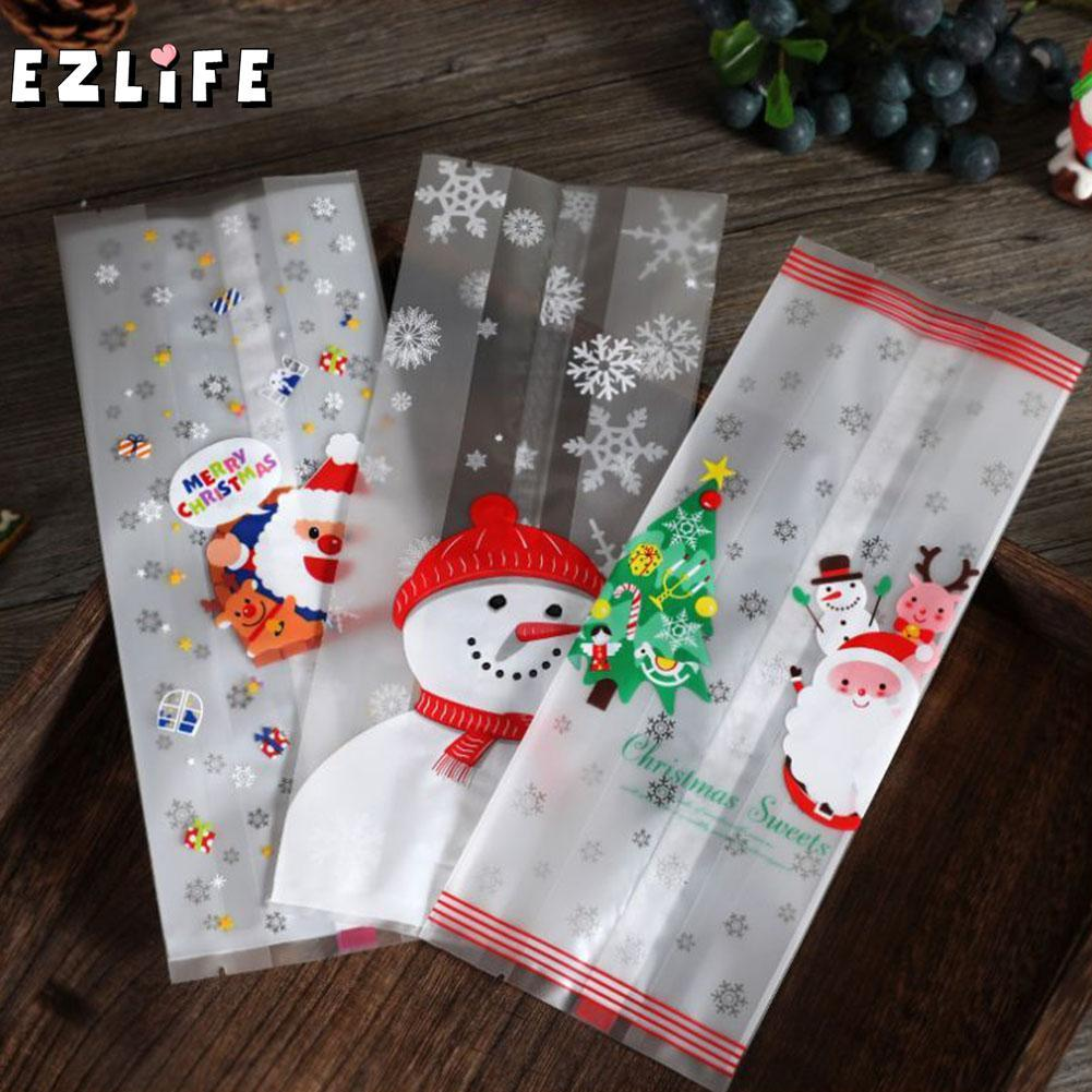 50 Pcs Christmas Bag Santa Claus Snowman Cellophane Cookie Fudge Candy Gift Merry Christmas Biscuit Cookie Candy Bag HQI7335