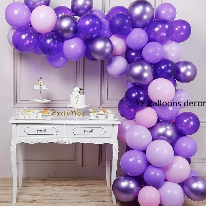 70Pieces roxo Balão Garland Arch Kit adultos Balões do aniversário para o partido de casamento Fundo Decoração Festa do bebé Supplies T200624
