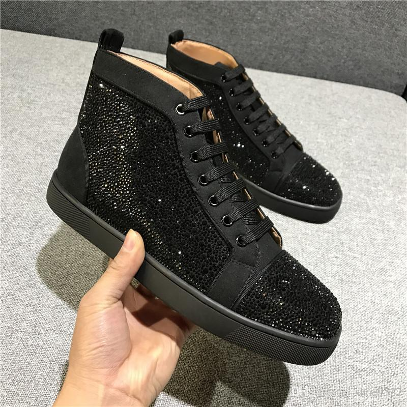 Paris Design New Spikes High Top Sneakers Shoes Women,Men Casual Red Bottom Party Dress Casual Walking Outdoor Lace-up Rivets Trainers