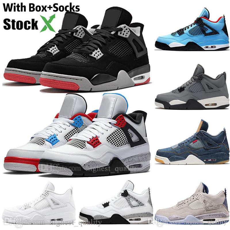 New Bred Cool Grey White Cement 4 4s IV What The Cactus Jack Mens Basketball Shoes FIBA Toro Bravo Denim Blue Men Sports Womens Sneakers