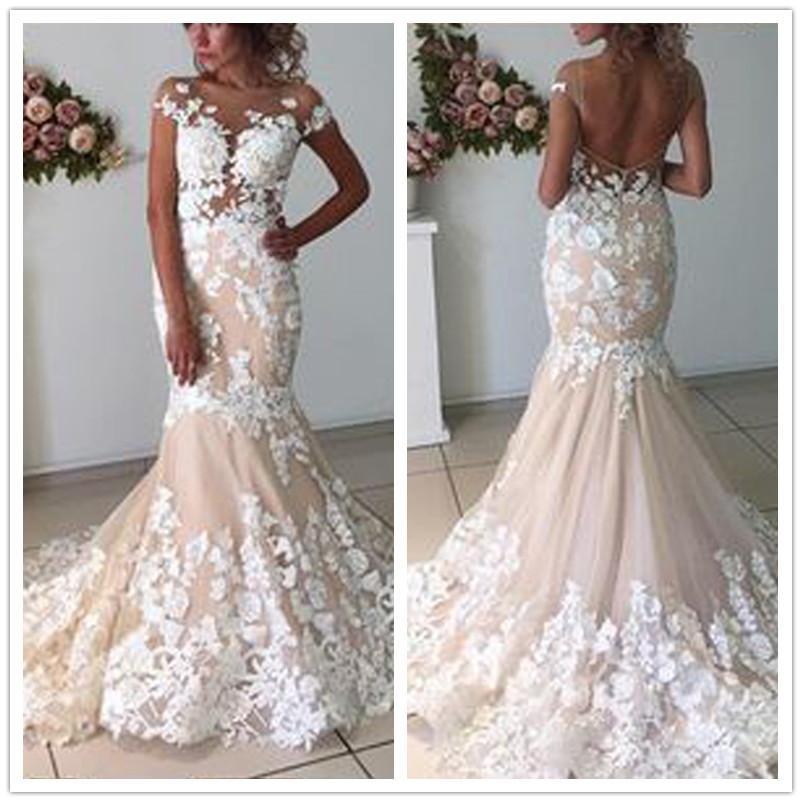 2020 vestido de boda atractivo sin respaldo Sirena con encaje floral Apliques más el tamaño de vestidos de boda del traje del vestido de novia de soirée