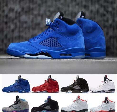 5 V Red Royal Cuero Azul Cemento Blanco Zapatos Olímpico OG Sup Negro metálico Oreo de baloncesto del Mens zapatillas deportivas 5s Tamaño 8-13