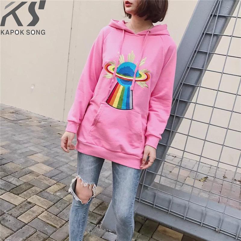 여성 후드 긴 소매 후드 여성 드레스 코튼 Fashional 플래시 핑크 스웨터 코튼 후드 일반 Avarage 크기 옷 Y190823