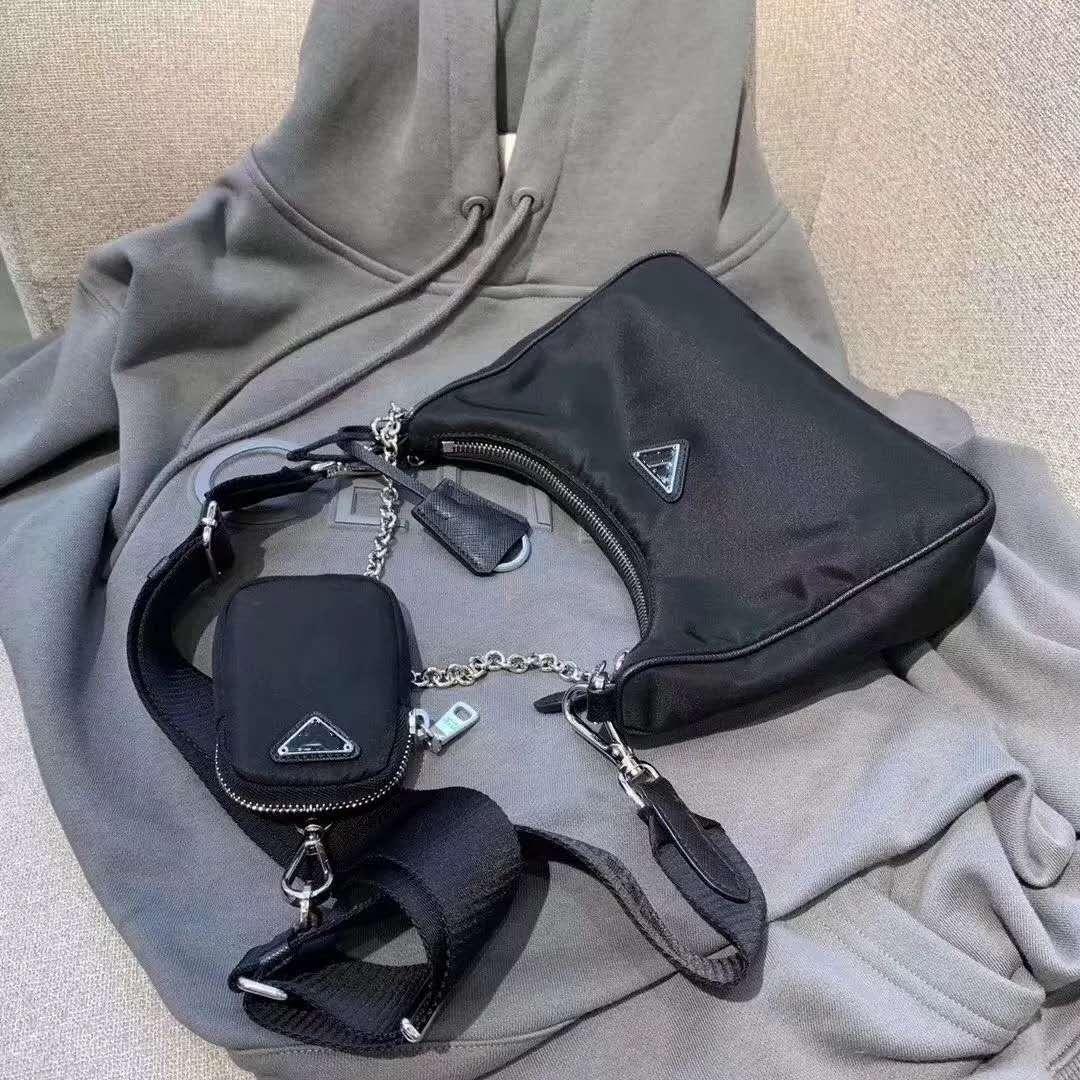 أزياء أسود اللون حقيبة للرجال والنساء بالجملة منتجات جديدة عبر هيئة كيس نايلون مع كوين الصغيرة محفظة محفظة الشهيرة الظهر شعبية
