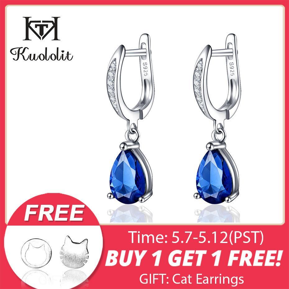 Kuololit Genuine 925 Sterling Silver Clip Earrings For Women Blue Sapphire Gemstone Earrings Jewelry Wedding Birthstone Gift J 190511