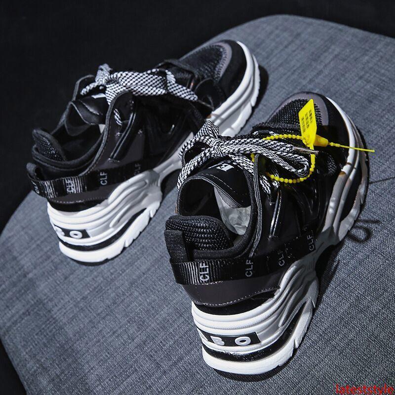 TRIPLE S Повседневная обувь для дышащего Ins увеличения 6cm Mesh Спортивной обуви на шнуровке кроссовок женщин мужской