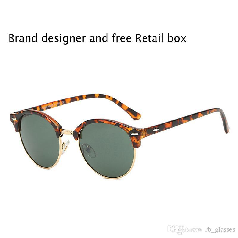 Occhiali da sole rotondi moda 2020 per uomo donna Designer di marca Occhiali da sole donna uomo Plank Frame Flash Mirror UV400 Lente con custodia e scatola