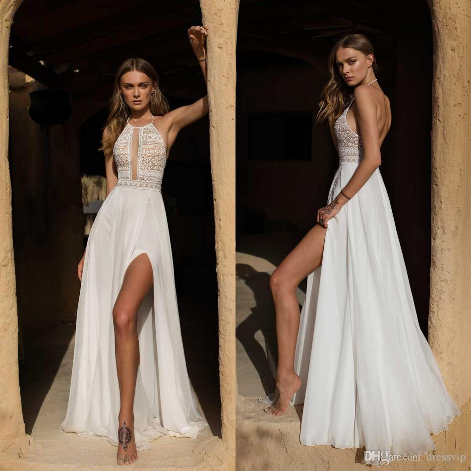 Asaf Dadush Wedding Dresses 2019 High Side Split Sexy Backless Vintage Crochet Lace Summer Flowy Chiffon Beach Bridal Dress Wedding Gowns