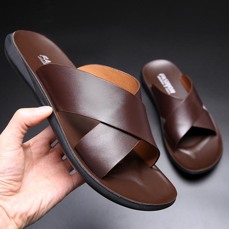 Yomior أزياء صيف جديد أحذية للرجال خمر الإيطالية شقق عارضة عدم الانزلاق شاطئ صنادل جلدية حقيقية فليب فلوب النعال