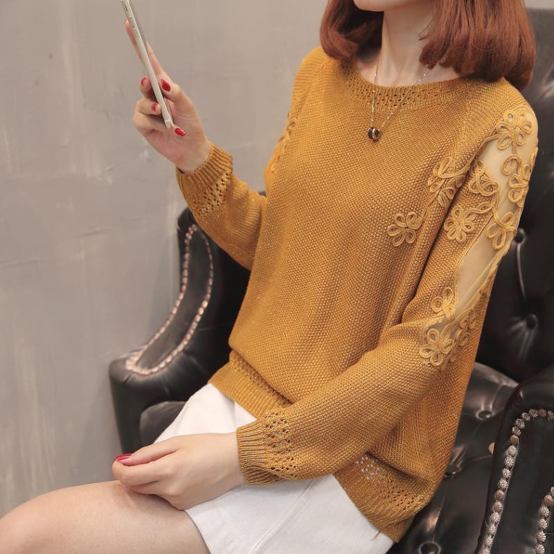 여성 스웨터 XL-XXXL 플러스 사이즈 니트 느슨한 스웨터 여성 Spirng 가을 겨울 옷 2021 중공 out 메쉬 크로 셰 뜨개질 패치 워크 긴 SLE