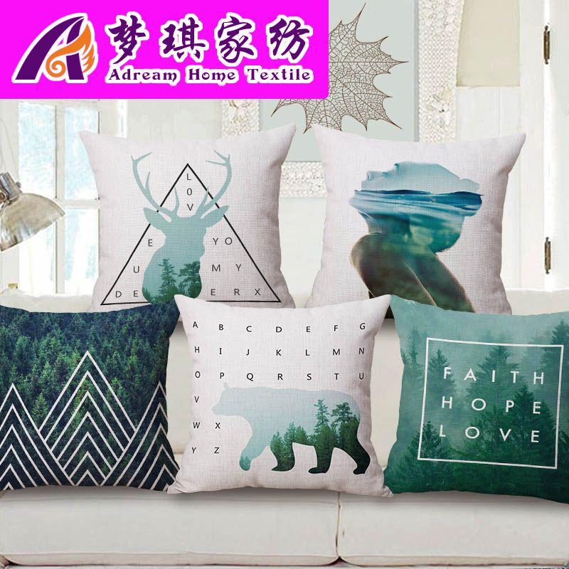 Meng Qi Textiles para el hogar Funda de almohada de algodón de retención concisa moderna Norte de Europa Originalidad Geometría Sofá Cojín Automóvil Cojín trasero