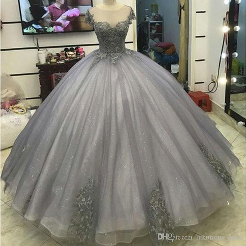 Glitter Grey Silver Ball Gown Princess Prom Dresses Lace Appliqued Victorian Formal gowns for masquerade Ball sweet 16 dresses Prom Gowns