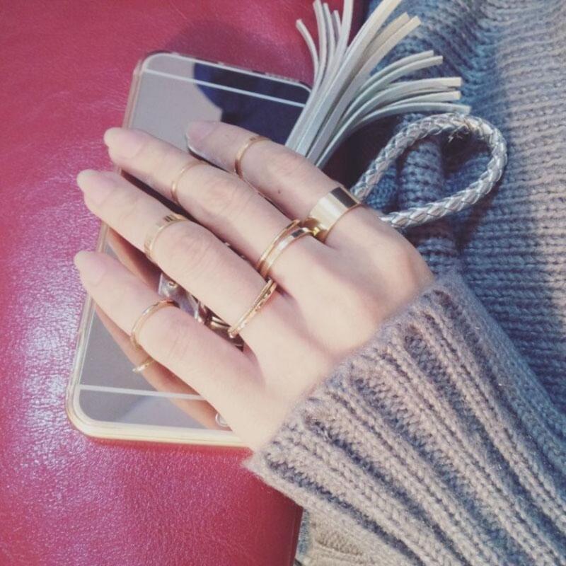 Estilo simple anillos de las mujeres de la personalidad de la banda niñas del sistema del anillo de los anillos de Hip Hop de la calle principal de regalos para la fiesta