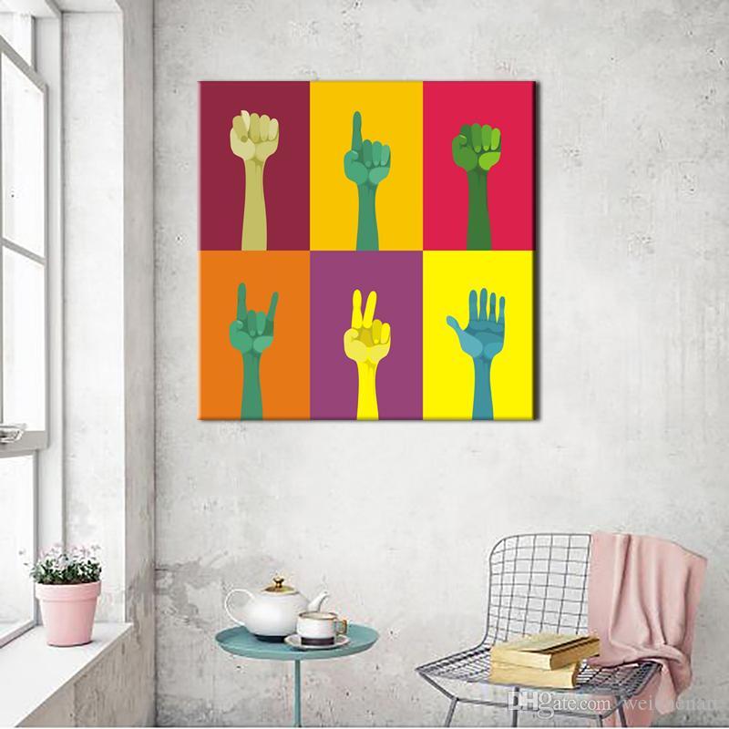 Acheter 1 Panneau Coloré Doigts Toile Art Mur Peinture Décorative Pour Le  Salon Moderne Impression Sur Toile Posters Cuadros Décoration No Frame De  ...