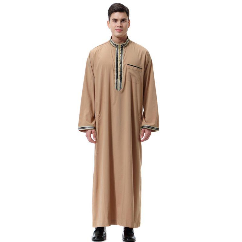 Mann muslimische Kleidung arabische Männer Applique Stehkragen Abaya islamische Kleidung Saudi jüdische Musulman Homme Ramadan Mens Abaya Kaftan